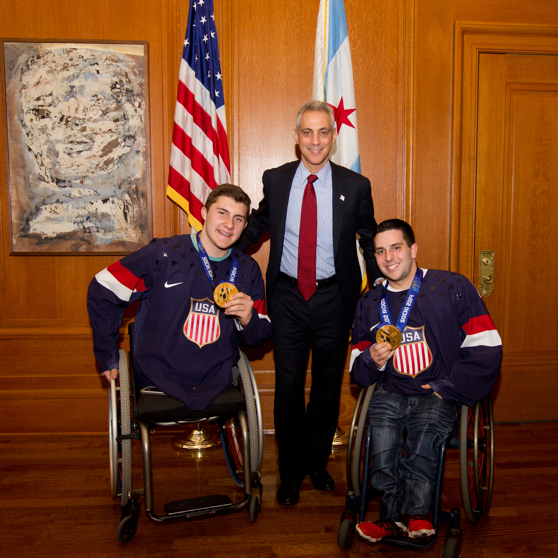 Mayor Rahm Emanuel meets with Paralympians Brody Roybal and Kevin Mckee