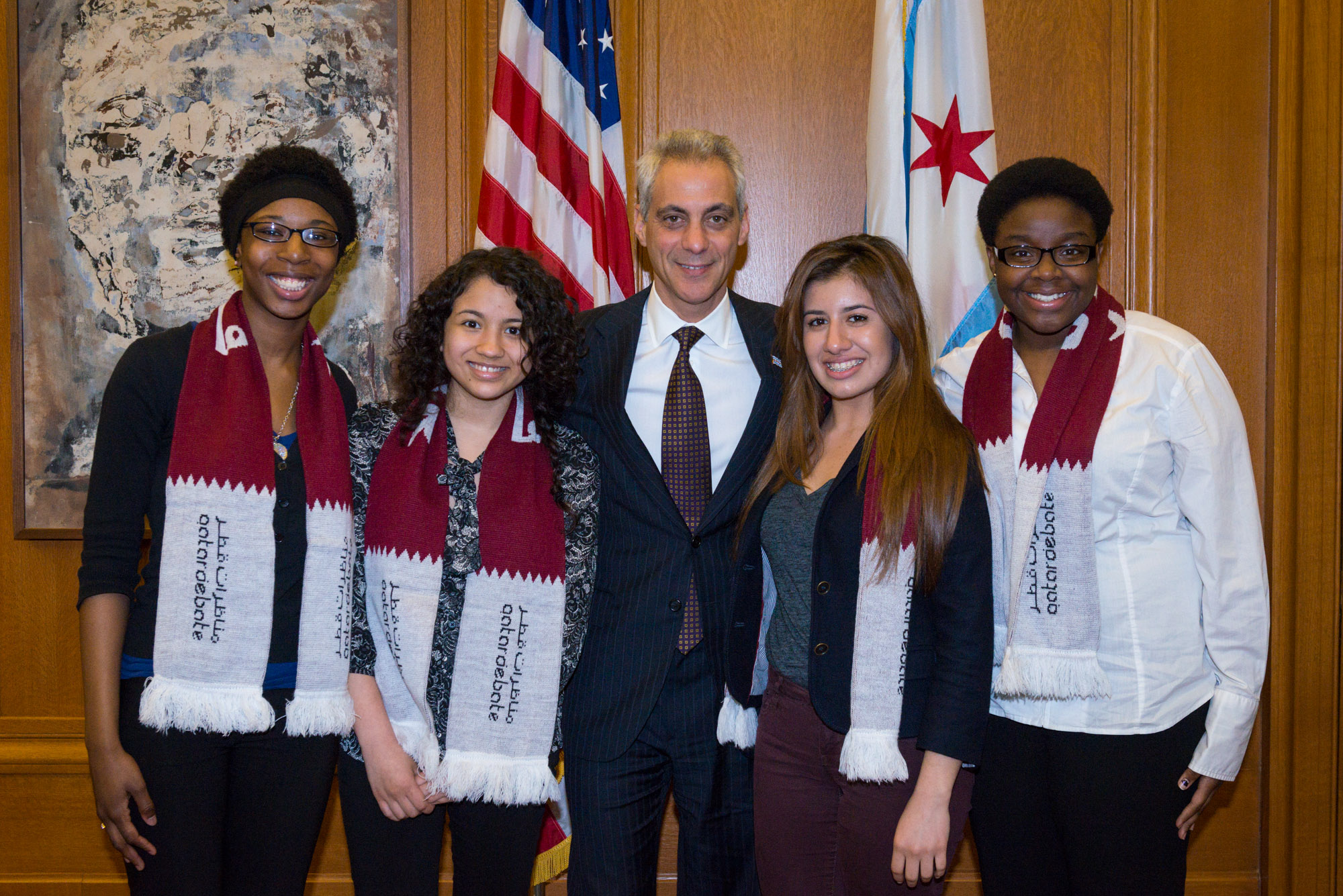 Mayor Emanuel meets and congratulates students from Lindblom Math and Science Academy on their recent participation in the Qatar Debate World Championship