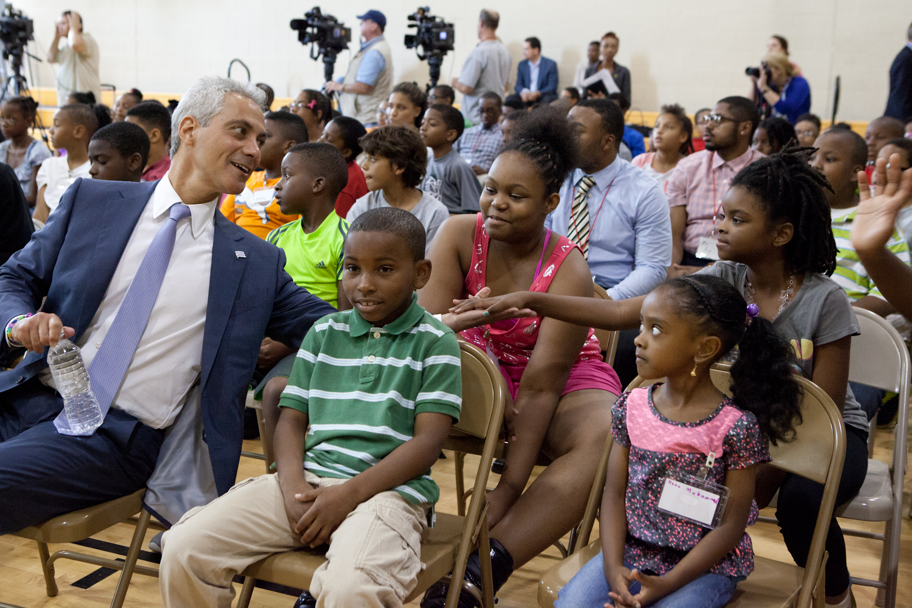 Mayor Emanuel visits with SEEK students at program kick off