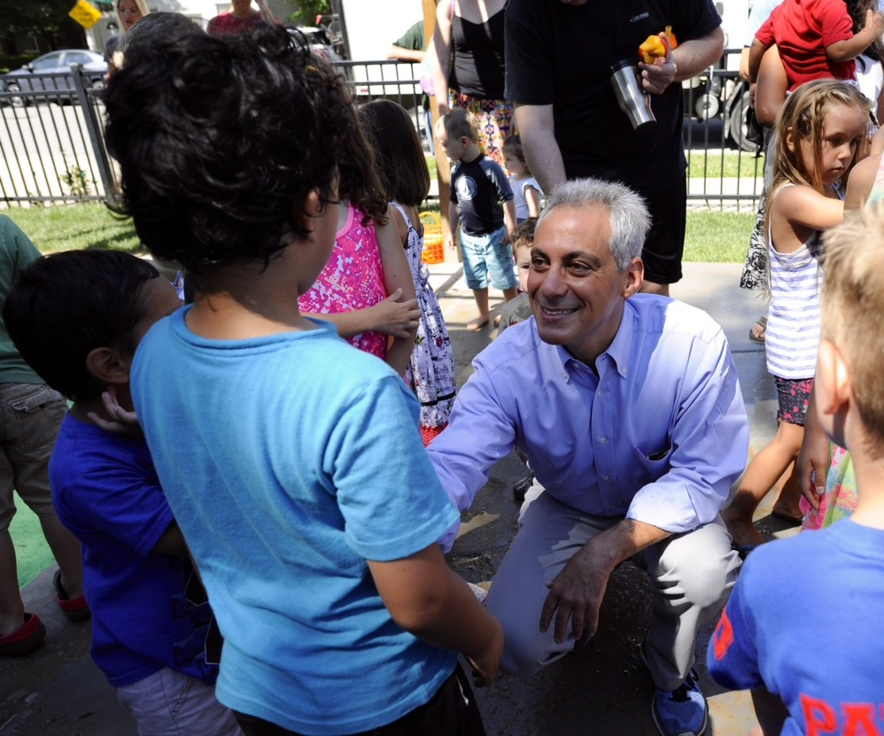 Mayor Emanuel joins community members while celebrating the ribbon cutting of Lucy Flower Park.