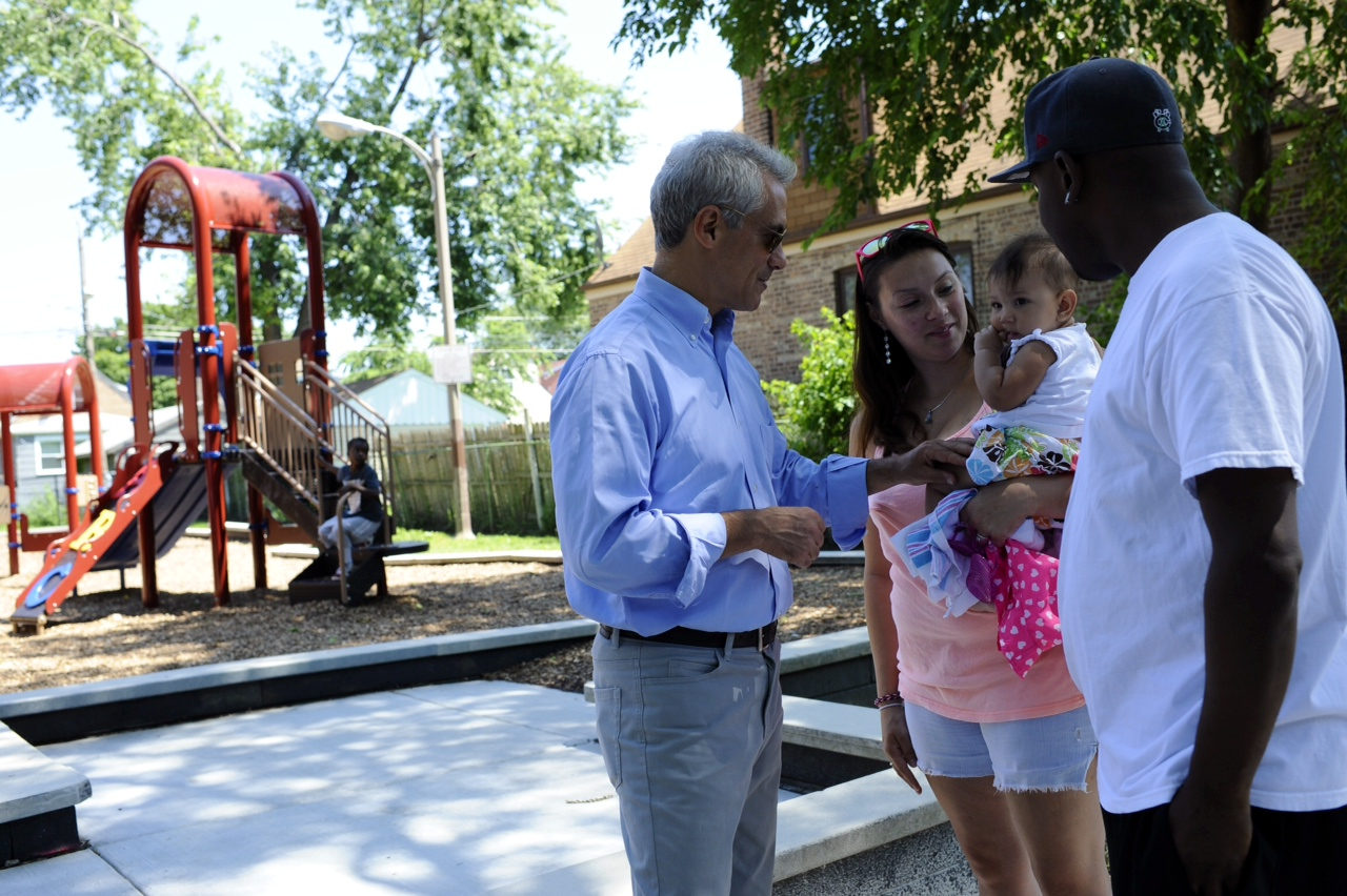 Mayor Emanuel joins community members while celebrating the ribbon cutting of Montgomery Park.