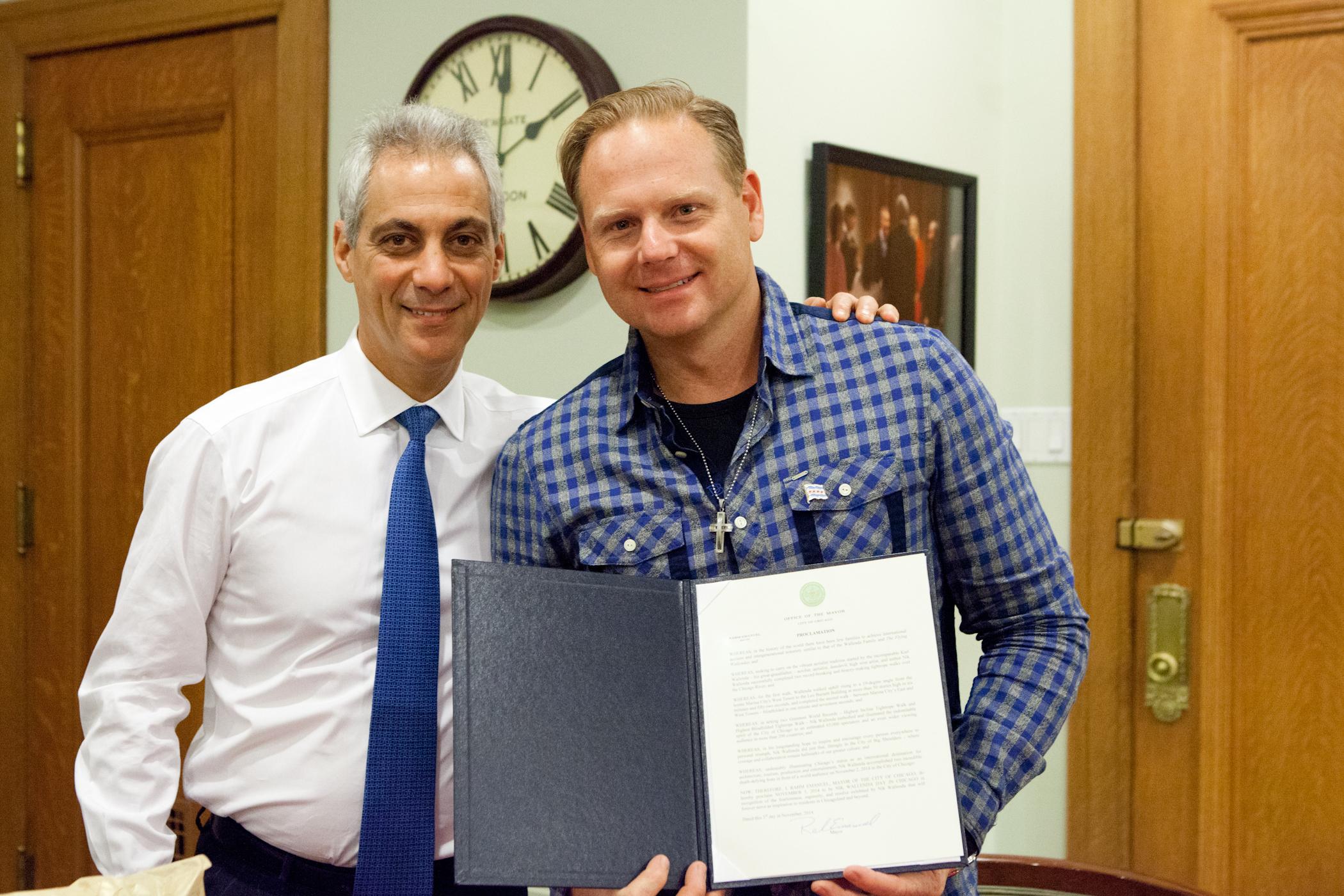 Nik Wallenda with Mayor Emanuel