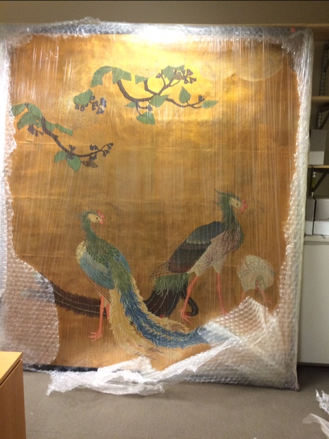 three original Japanese sliding door paintings from the 1893 World's Columbian Exposition