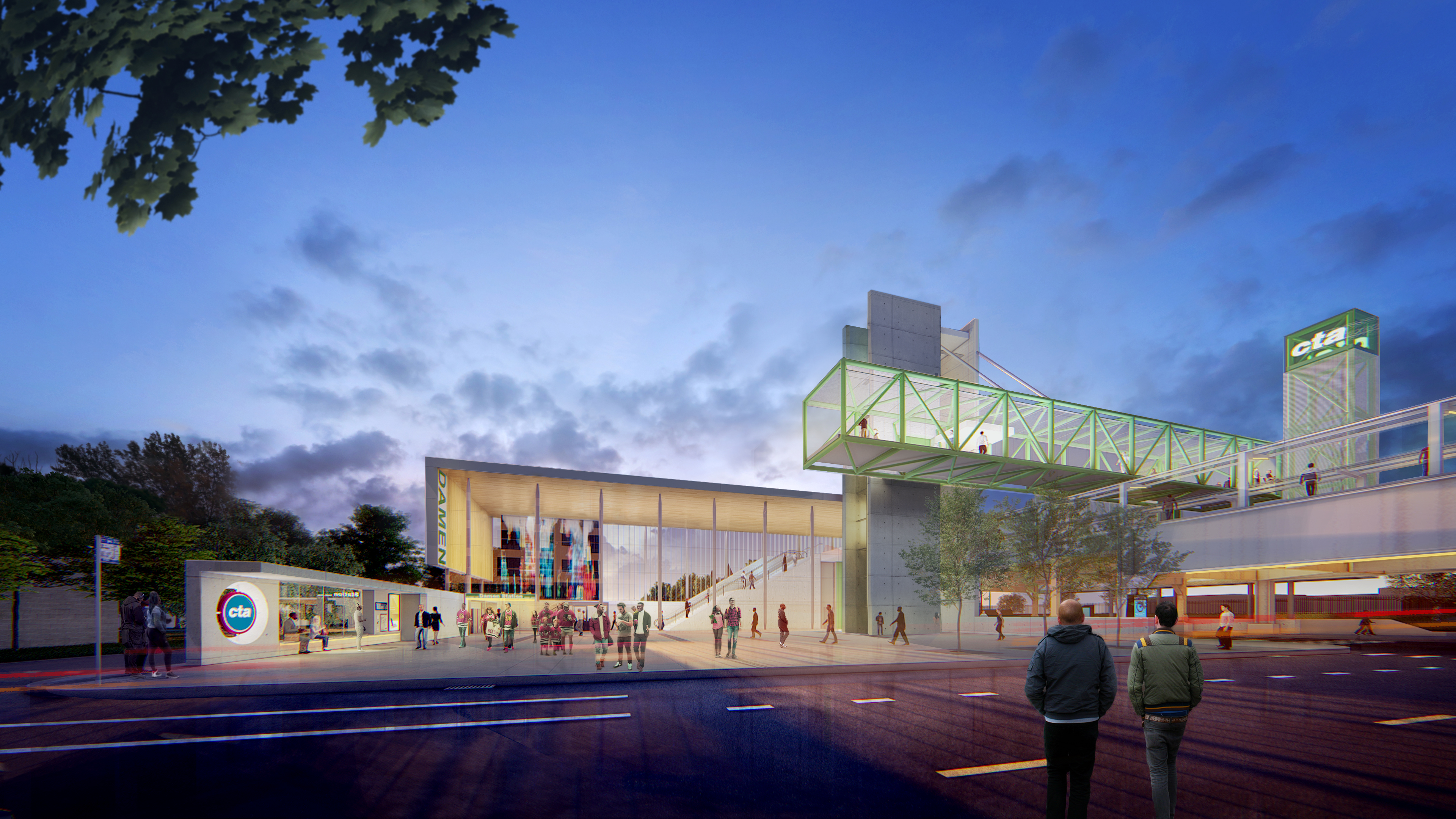 East view of the new CTA Green Line station planned at Lake Street and Damen Avenue. Rendering: Perkins + Will