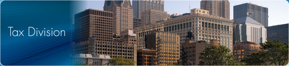 Banner image for the tax division of the Department of Finance.  Picture of Chicago skyline.