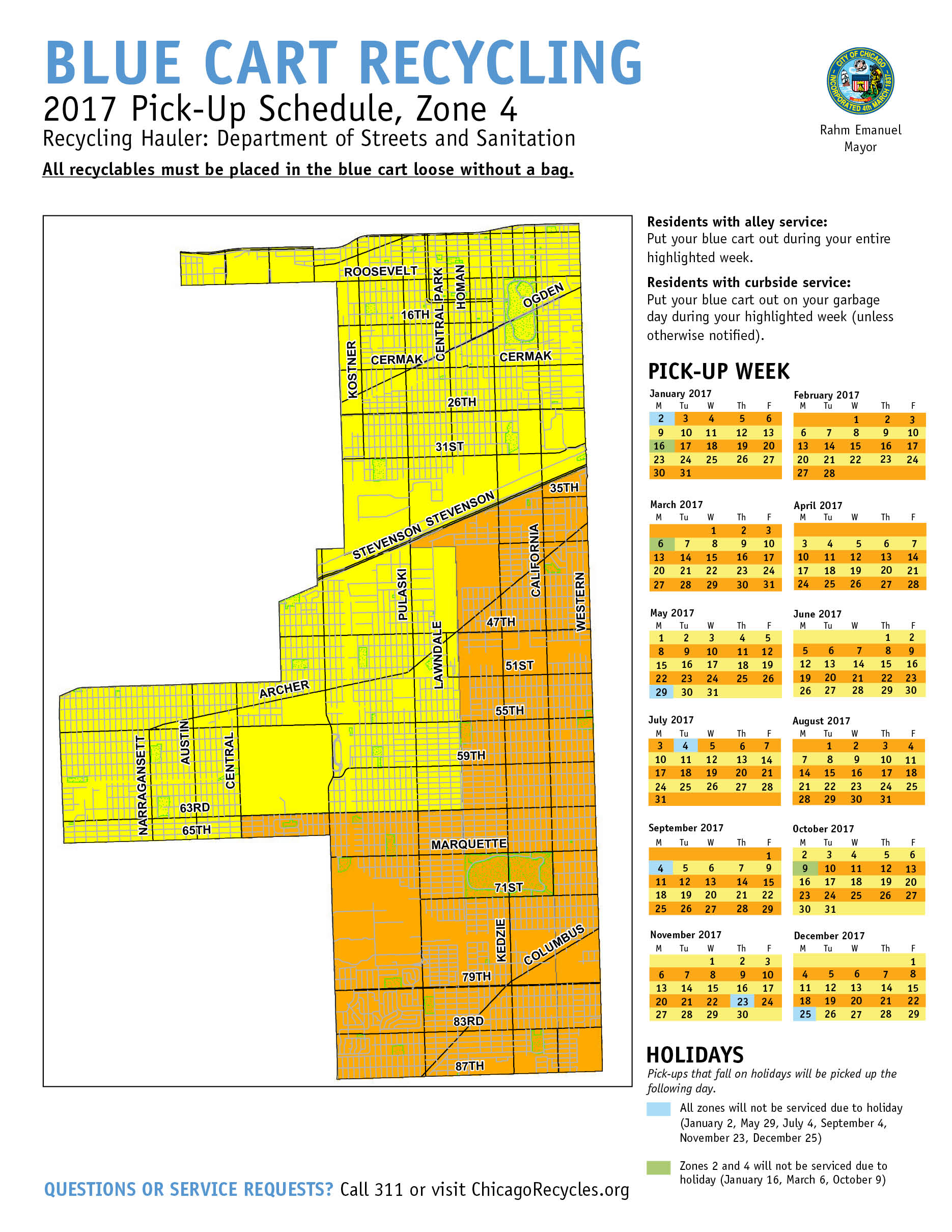 City Of Chicago  Blue Cart Schedule And Maps - Chicago map by county