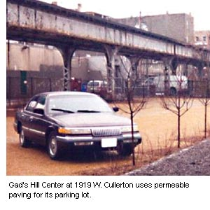 Photo of Gad's Hill Center at 1919 W. Cullerton permeable paved surface parking lot.
