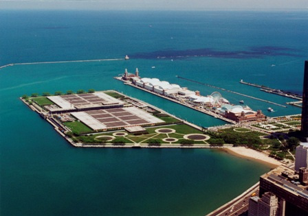Aerial view of the James W. Jardine Water Purification Plant located just North of Chicago's Navy Pier.