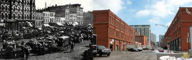 Historic view of Haymarket District/Modern view of Fulton Market