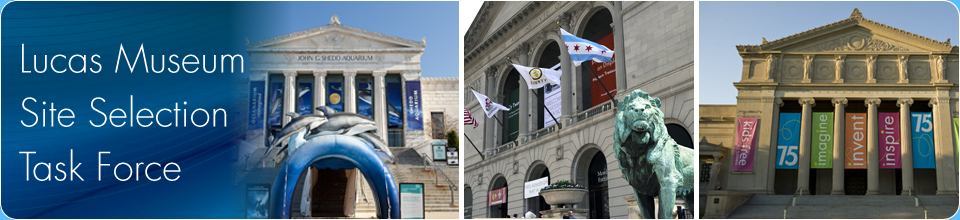 Images of the Art Museum, Shedd Aquarium and the Science and Industry Museum.
