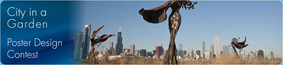 Sculptures in a field and Chicago skyline in the background