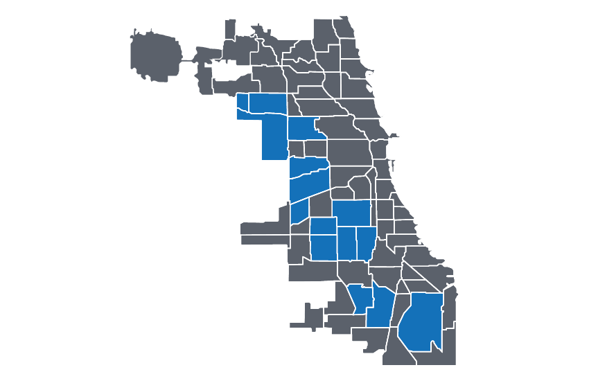 Protect Chicago Plus Map: The neighborhoods initially targeted in Protect Chicago Plus are West Englewood, New City, Gage Park, North Lawndale, South Lawndale, Chicago Lawn, Englewood, Roseland, Archer Heights, Washington Heights, Austin, Montclare, South Deering, Belmont Cragin and Humboldt Park.
